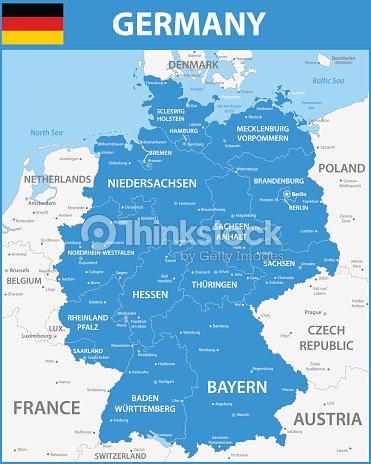 Map Of Germany With Regions.The Detailed Map Of The Germany With Regions Or States And Cities