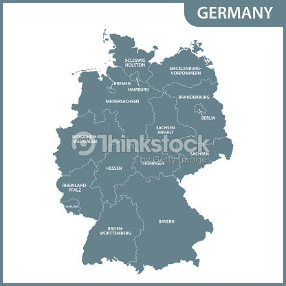 Map Of Germany Regions.The Detailed Map Of The Germany With Regions Vector Art Thinkstock