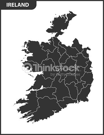 Detailed Map Of Ireland Vector.The Detailed Map Of The Ireland With Regions Or States Vector Art