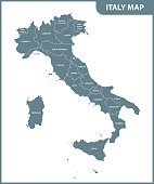The detailed map of the Italy with regions