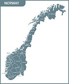 The detailed map of the Norway with regions