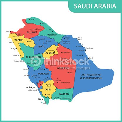 The Detailed Map Of The Saudi Arabia With Regions Or States And ...