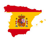 The detailed map of the Spain with National Flag