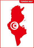 The detailed map of Tunisia with National Flag
