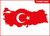 The detailed map of Turkey with National Flag