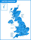 The detailed map of United Kingdom with regions or states and cities, capitals. Actual current relevant UK, Great Britain administrative division.