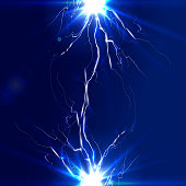 The discharge of electricity, lightning and vector illustration