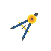 The divider icon. Surveyor and geometry, engineer, architect, symbol. Compass Pencil flat icon. Single flat icon. Vector illustration