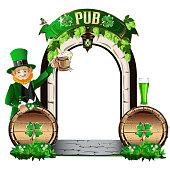 The door to the Irish pub. Vector illustration for Saint Patrick Day.