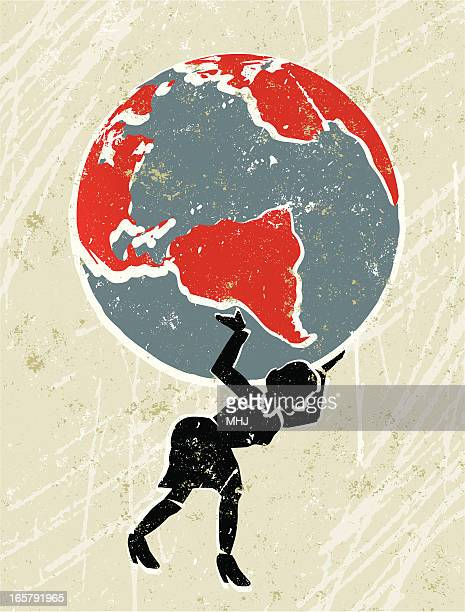 The Earth being carried by a businesswoman.