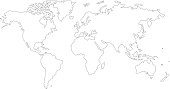 The Earth, World Map on white background. Vector illustration