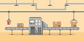 Conveyor Automatic Production Line with Cardboard Boxes.Production Process on the Line Conveyor.Industrial machine.engineering vector illustration