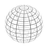 The frame of the earth is a simple black and white form. Vector.