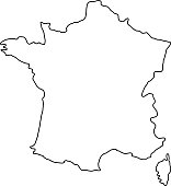 The France map of black contour curves of vector illustration