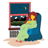 The girl sits wrapped in a warm blanket at the night window. Illustration in flat style