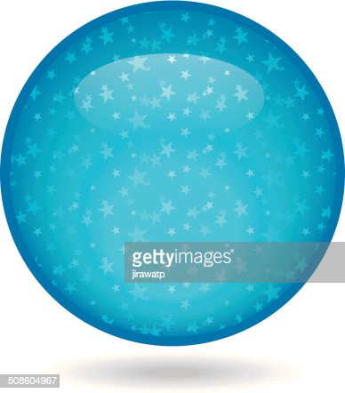 El brillante círculo azul con estrellas en el interior. : Arte vectorial