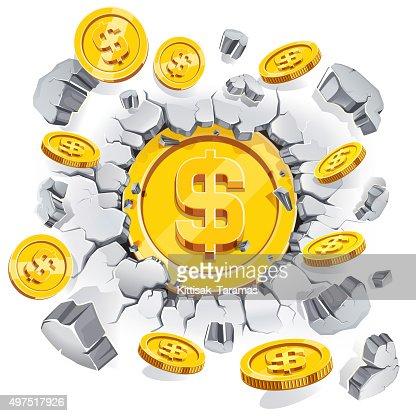 Gold Dollarmünze Brechen über Die Betonwand Vektorgrafik Thinkstock
