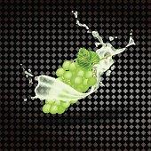 The grape juice. Fresh fruit. Realistic 3D vector on a transparent background.