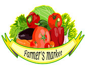 The harvest of vegetables farmers market. Colorful hand drawn vector illustration