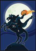 A great Halloween illustration of the Headless Horseman framed against a full moon on a crisp Autumn night.