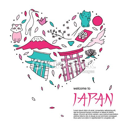 The Heart With Colored Symbols Of Japan Japanese Culture And