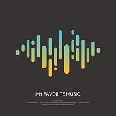 The image of the colorful sound wave on a black background. Vector illustration.