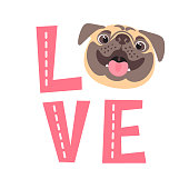 The inscription on the t-shirt of the owner of the dog. Word LOVE with a pug face. Vector illustration.