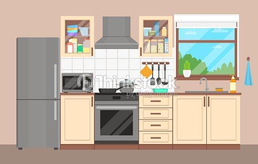 El Interior De La Cocina Muebles Electrodomésticos Platos Y ...
