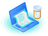 The laptop, doctor online writes the medical prescription, pill bottle. Flat vector isometric illustration. The telemedicine and telehealth, online medicine, internet healthcare, tele health concept.