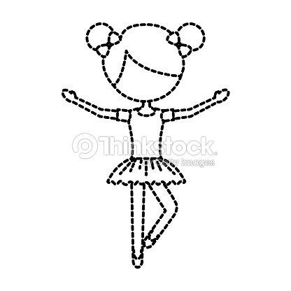 The Little Girl Danced Ballet With Tutu Dress And Bun Hair Vector