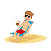 ... Dos sillas reclinables en la playa al atardecer. Young guy in  sunglasses sunbathing on the beach. Vector illustration. 9b43388131d1