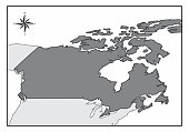 The map of Canada and its location in North America
