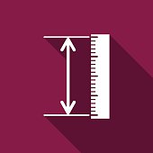 The measuring height and length icon. Ruler, straightedge, scale symbol flat with long shadow. Vector Illustration