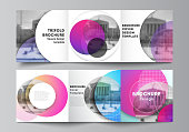 The minimal vector editable layout of two square format covers design templates for trifold square brochure, flyer, magazine. Creative modern bright background with colorful circles and round shapes