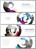 The minimalistic vector illustration of the editable layout of headers, banner design templates. Futuristic design circular pattern, circle elements forming geometric frame for photo