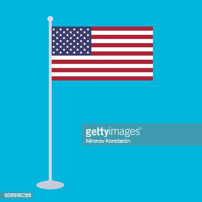 The National Flag And Flagstaff Of United States Of America Vector