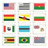 Flags of Bikini Atoll, Brittany, Burkina Faso, Bolivia, Brunei, Bulgaria, Bosnia and Herzegovina, Botswana, British Antarctic Territory, Zimbabwe, Brazil and British Indian Ocean Territory.