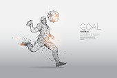 The particles and line dot of football player motion. concept of moving. suitable use for poster banner and background design. - line stroke weight editable