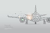 The particles, geometric art, line and dot of Airplane