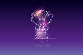 The particles, geometric art, line and dot of winner trophy abstract vector illustration. graphic design concept of victory or champion. - line stroke weight editable