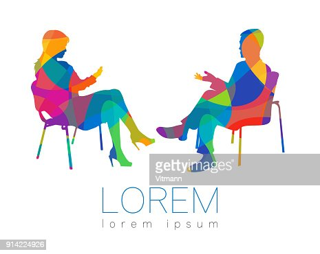 The people talk. Counselling or Psychotherapy session. Man woman talking while sitting. Silhouette profile. Modern symbol symbol. Design concept sign. Rainbow bright and colorful. : Vector Art