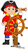illustration of the pirates is holding the binoculars and the steering the ship