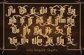The Pontifice - vintage gothic label font. Vector typeface with swashes, alternate glyphs and ligatures on the old dark background.