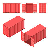 The red shipping container. Flat and isometric styles. Open and closed case. Storage and delivery of cargo. Vector illustration.