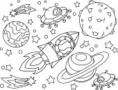 The rocket flies to the moon coloring book. Antistress planet, earth and moon Vetor illustration in icon style. EPS 10.