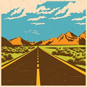 Stylized vector illustration of a route through the mountain valley in old poster style
