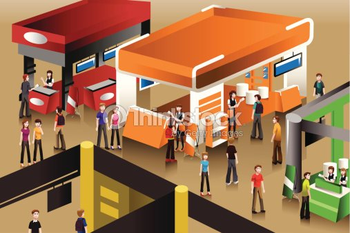 Exhibition Booth Vector : The scene at an exhibition booths vector art thinkstock