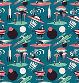 The space city of the future - vector seamless pattern. Space fabric design with rockets and modern city.