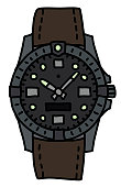 The hand drawing of a sports waterproof wristwatch with a brown strap