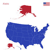 The State of Alaska is Highlighted in Red. Blue Vector Map of the United States Divided into Separate States. Map of the USA Split into Individual States.